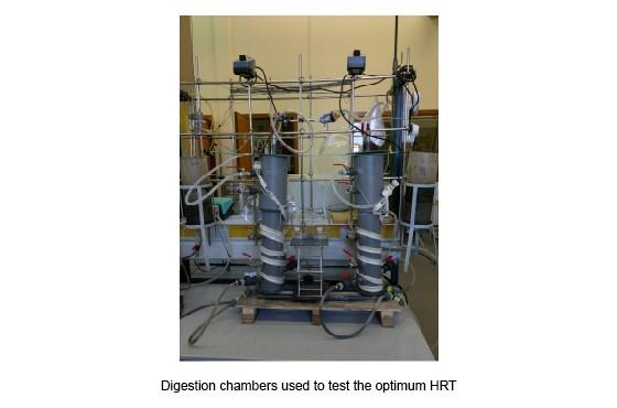 Cámaras de digestión usadas para ensayar los tiempos de retención hidráulica óptimos (TRH)