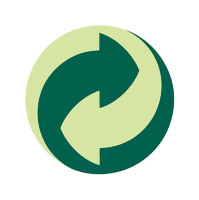 Imagen del logo de punto verde que indica que el envase está adherido a un sistema integrado de gestión