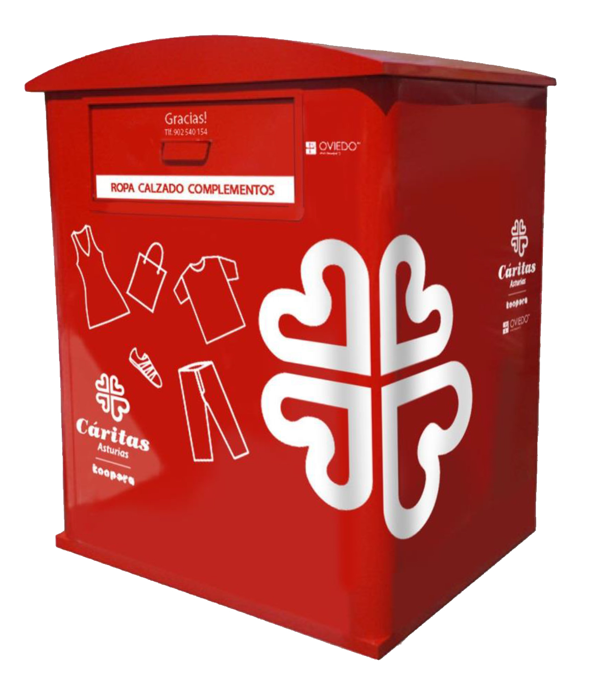Foto de un contenedor de Cáritas para ropa y calzado usados