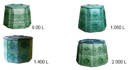 Imagen de ejemplos de compostadoras comunitadias de distintas capacidades